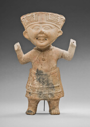"Standing, ""Smiling"" Figure with Hands Raised"