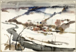 Winding River Near a Town (recto); Railroad Train in Industrial Town Along a River (verso)