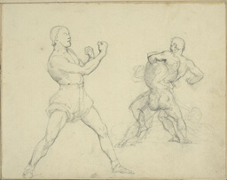 Boxer Facing Right and Two Men Wrestling