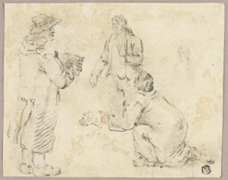 Three Men with Dogs
