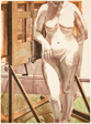 Nude Standing by Easel