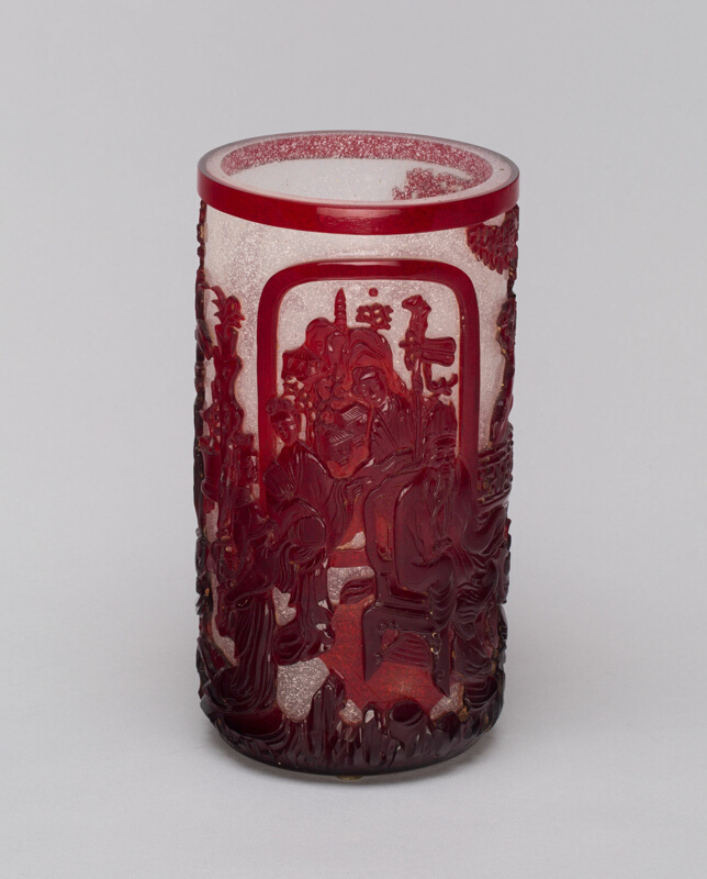 Red Overlay Glass Cylindrical Vase The Art Institute Of Chicago