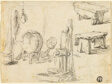Sketches of Pump, Washtub, Benches