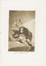 The Shamefaced one, plate 54 from Los Caprichos