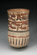 Beaker Depicting Rows of Abstract Patterns and Costumed Performers