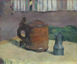 Still Life: Wood Tankard and Metal Pitcher