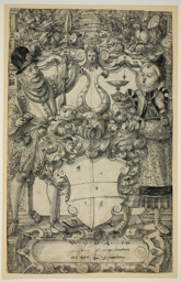 The Arms of Habsberg Flanked by an Elegant Couple