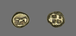Stater (Coin) Depicting a Crouching Dog