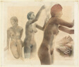 Three Views of a Nude Woman, Sketches of Hands