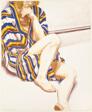 Girl in Striped Robe