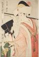 "Hour of the Horse [12 am], Shrine Maiden (Uma no koku, miko), from the series ""Customs of Beauties Around the Clock"" (""Fuzoku bijin tokei"")"