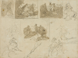 Sketches of a Cavalry Battle and Studies of a Draught Horse