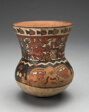 Beaker Depicting Human Head and Abstract Costumed Figures