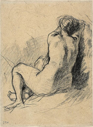 Study: Nude Woman Seen from the Back (recto) Sketches of Peasants Working (verso)