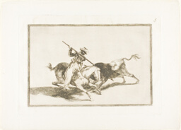 The Spirited Moor Gazul is the First to Spear Bulls According to Rules, plate five from The Art of Bullfighting