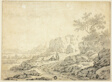 Rocky Landscape with Figures and Dog on Path