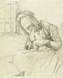 Old Woman Mending at the Window