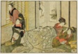 "Interior Scene on a Snowy Day, from the illustrated book ""Picture Book: Flowers of the Four Seasons (Ehon shiki no hana),"" vol. 2"