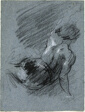 Back View of Seated Figure, Lifting Left Arm