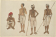 Four Recruits in White Dhotis, page from the Fraser Album