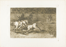 Mariano Ceballos, alias the Indian, kills the bull from his horse, plate 23 from The Art of Bullfighting