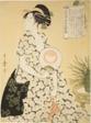 "Beauty Wearing a Summer Kimono, from the series ""New Patterns of Brocade Woven in Utamaro Style"" (""Nishiki-ori Utamaro-gata-shinmoyo"")"