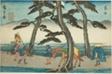 """Akasaka, from the series """"Fifty-three Stations of the Tokaido (Tokaido gojusan tsugi no uchi),"""" also known as the Gyosho Tokaido"""