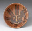 Bowl with Anthropomorphic Figure Holding Darts Painted on Interior