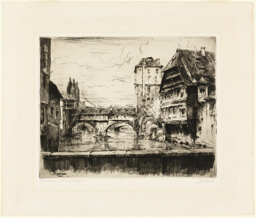 Untitled (Landscape with Old Buildings and Bridge)