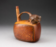 Single Spout Rectangular Vessel with Sculpted Frog and Textile-like Motifs