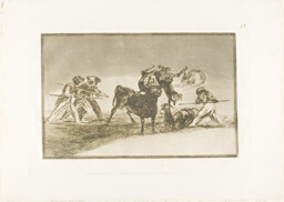 The Moors use donkeys as a barrier to defend themselves against the bull whose horns have been tipped with balls, plate 17 from The Art of Bullfighting