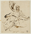 Seated Male Figure with Raised Arm