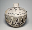 Jar with Horned Serpents and Interlocking, Hatched-and-Black Stepped Designs