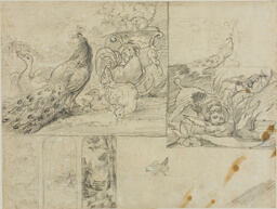 Sketches of Decorative Landscape and Animal Compositions