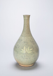 Bottle-Shaped Vase with Lotus Flowers and Stylized Scrolls