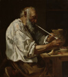 Old Peasant Lighting a Pipe