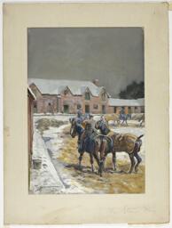 Horses in a Paddock in Winter