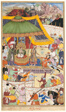 The Young Emperor Akbar Arrests the Insolent Shah Abu'l-Maali, page from a manuscript of the Akbarnama