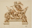 Warrior Accompanied by Britannia, Minerva, and Fame (recto); Design for the Monument to Nicholas Rowe (verso)