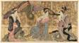 A parody of courtesans on display at the Ogiya (Ogiya mise yatsushi)