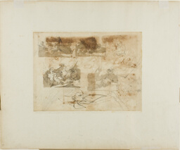 Sketches of a Cavalry Battle, Head, and Paws of a Greyhound