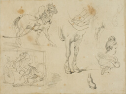 Studies of a Draught Horse, a Blacksmith and a Young Woman