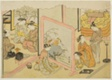 "A Cup of Sake before Bed (Toko sakazuki), the sixth sheet of the series ""Marriage in Brocade Prints, the Carriage of the Virtuous Woman (Konrei nishiki misao-guruma)"""