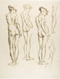 Sheet of Sketches: Female Nude Seen from Behind (recto); Sheet of Sketches: Female Nude, Front View (verso)