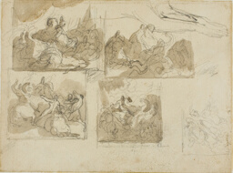 Sketches of a Cavalry Battle and the Forepaws of a Dog