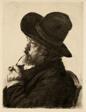 Smoking in Large Hat (Self Portrait)