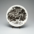 """""""Cranberry Gathering"""" plate, """"New England Industries"""" series"""
