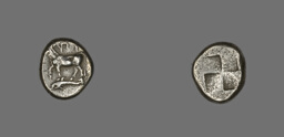 Drachm (Coin) Depicting a Cow with Dolphin below