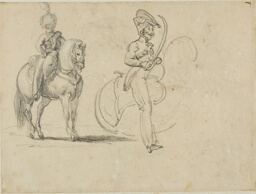 Sketches of a Mounted Chasseru and a Cavalry Officer with Drawn Saber