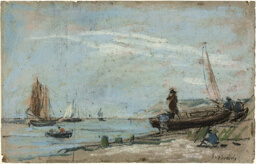 Beach with Fishing Boats (recto); Landscape with Farmer Plowing a Field (verso)